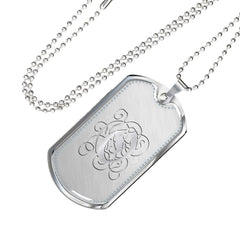 Dog Tag Pendant Necklace with Silver O Initial, Personalized, Monogram & Name