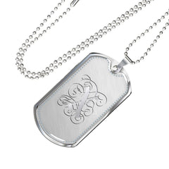 Dog Tag Pendant Necklace with Silver X Initial, Personalized, Monogram & Name