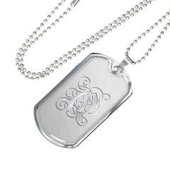 Dog Tag Pendant Necklace with Silver Q Initial, Personalized, Monogram & Name