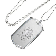 Dog Tag Pendant Necklace with Silver V Initial, Personalized, Monogram & Name