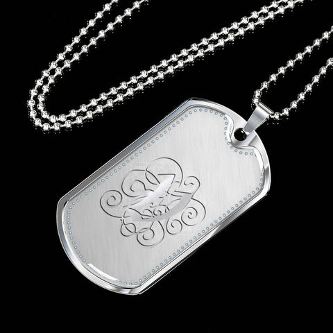 Dog Tag Pendant Necklace with Silver V Initial, Personalized, Monogram & Name - Lyghtt