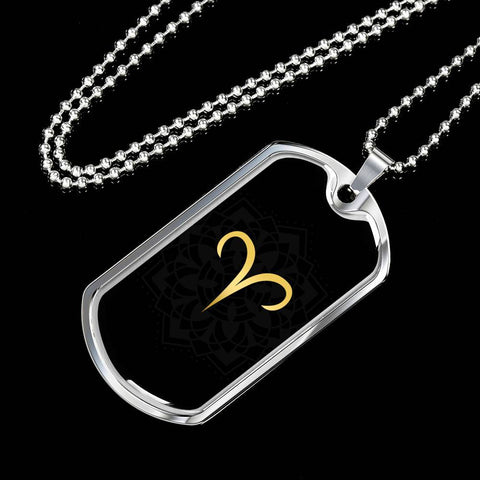 Gold on Black Aries Zodiac Astrology Dog Tag Necklace - Lyghtt