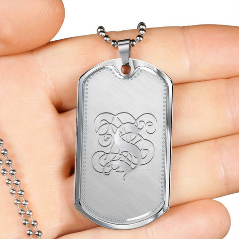 Dog Tag Pendant Necklace with Silver S Initial, Personalized, Monogram & Name - Lyghtt
