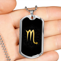 Gold on Black Scorpio Zodiac Astrology Dog Tag Necklace