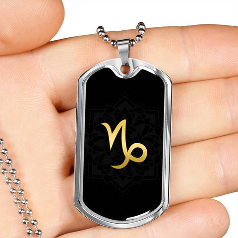 Gold on Black Capricorn Zodiac Astrology Dog Tag Necklace - Lyghtt
