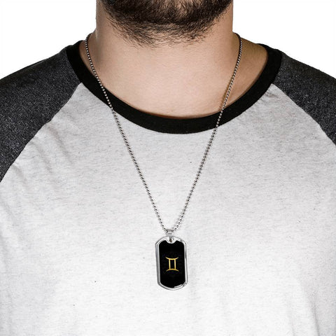 Gold on Black Gemini Zodiac Astrology Dog Tag Necklace - Lyghtt
