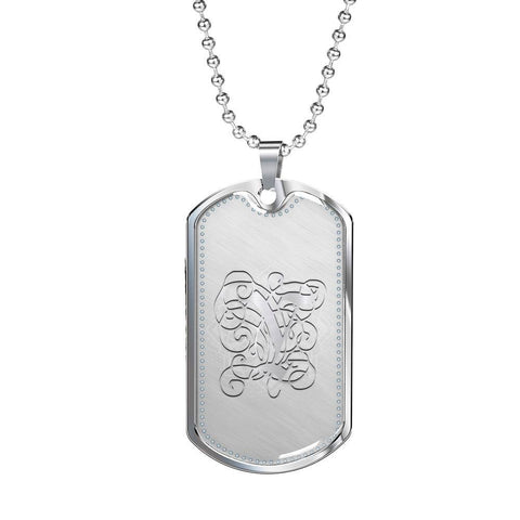 Dog Tag Pendant Necklace with Silver Y Initial, Personalized, Monogram & Name - Lyghtt