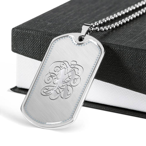 Dog Tag Pendant Necklace with Silver R Initial, Personalized, Monogram & Name - Lyghtt