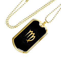 Gold on Black Virgo Zodiac Astrology Dog Tag Necklace