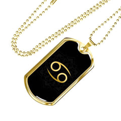 Gold on Black Cancer Zodiac Astrology Dog Tag Necklace