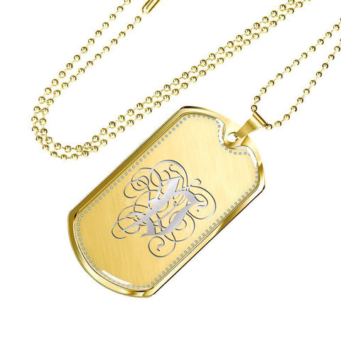 Dog Tag Pendant Necklace with Silver P Initial, Personalized, Monogram & Name - Lyghtt