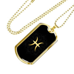 Gold on Black Pisces Zodiac Astrology Dog Tag Necklace