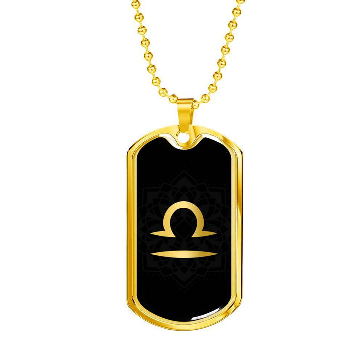 Gold on Black Libra Zodiac Astrology Dog Tag Necklace - Lyghtt