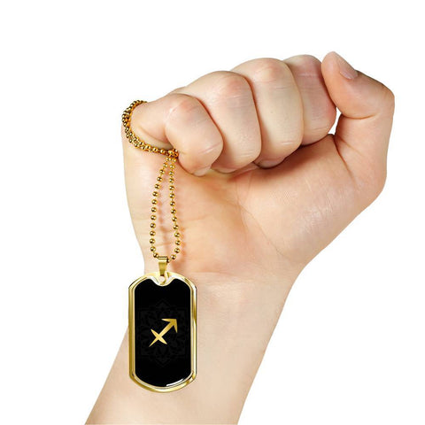 Gold on Black Sagittarius Zodiac Astrology Dog Tag Necklace - Lyghtt