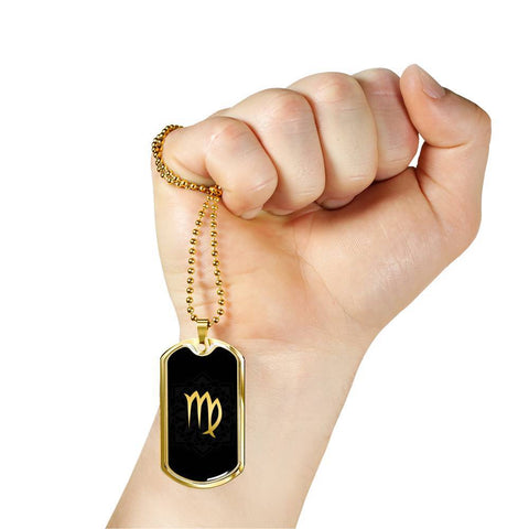 Gold on Black Virgo Zodiac Astrology Dog Tag Necklace - Lyghtt