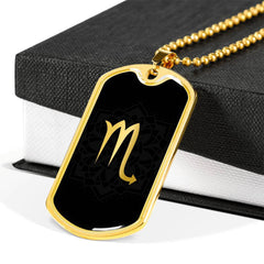 Gold on Black Scorpio Zodiac Astrology Dog Tag Necklace - Lyghtt