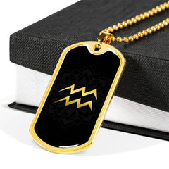 Gold on Black Aquarius Zodiac Astrology Dog Tag Necklace - Lyghtt