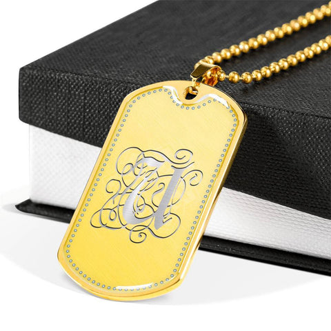 Dog Tag Pendant Necklace with Silver U Initial, Personalized, Monogram & Name - Lyghtt