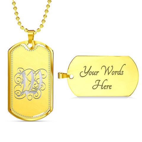 Dog Tag Pendant Necklace with Silver W Initial, Personalized, Monogram & Name - Lyghtt