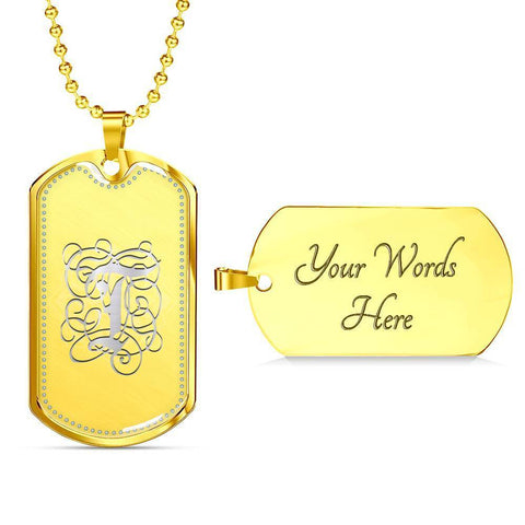 Dog Tag Pendant Necklace with Silver T Initial, Personalized, Monogram & Name - Lyghtt