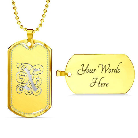 Dog Tag Pendant Necklace with Silver X Initial, Personalized, Monogram & Name - Lyghtt