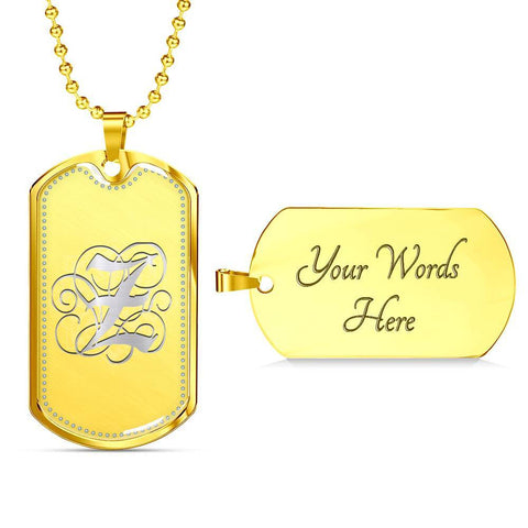 Dog Tag Pendant Necklace with Silver Z Initial, Personalized, Monogram & Name - Lyghtt