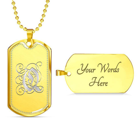 Dog Tag Pendant Necklace with Silver Q Initial, Personalized, Monogram & Name - Lyghtt