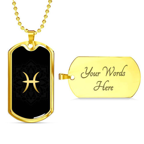 Gold on Black Pisces Zodiac Astrology Dog Tag Necklace - Lyghtt