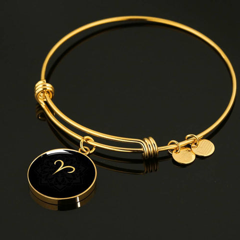 Gold on Black Aries Zodiac Astrology Bangle Bracelet - Lyghtt