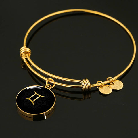 Gold on Black Gemini Zodiac Astrology Bangle Bracelet - Lyghtt