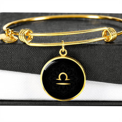 Gold on Black Libra Zodiac Astrology Bangle Bracelet