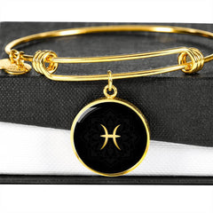 Gold on Black Pisces Zodiac Astrology Bangle Bracelet
