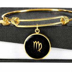 Gold on Black Virgo Zodiac Astrology Bangle Bracelet