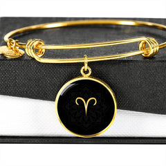 Gold on Black Aries Zodiac Astrology Bangle Bracelet