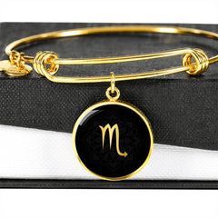 Gold on Black Scorpio Zodiac Astrology Bangle Bracelet