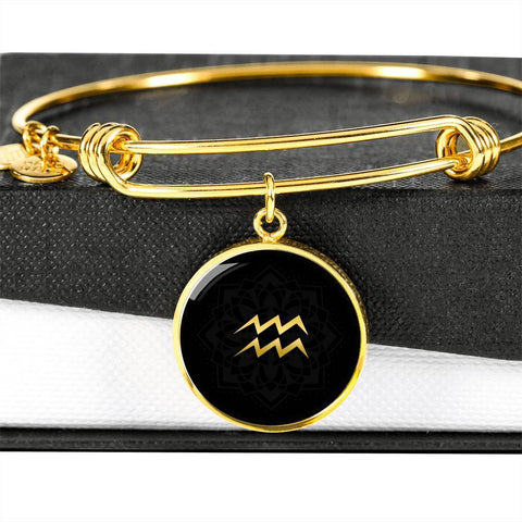 Gold on Black Aquarius Zodiac Astrology Bangle Bracelet - Lyghtt