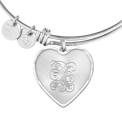 Heart Bangle Bracelet with Silver Initial, Personalized, Monogram & Name X