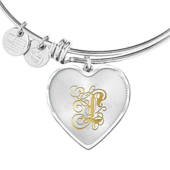 Heart Bangle Necklace with Gold L Initial, Personalized Monogram & Name