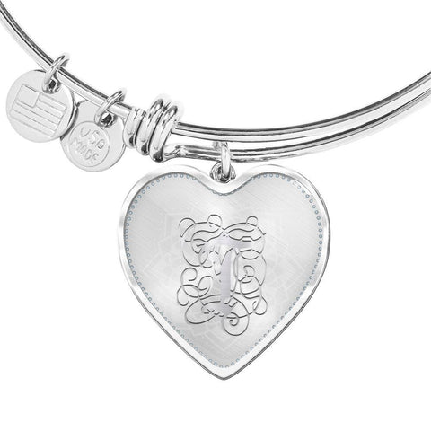 Heart Bangle Bracelet with Silver Initial, Personalized, Monogram & Name T - Lyghtt