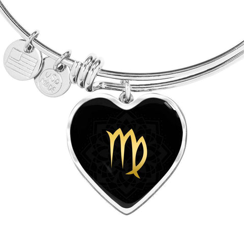 Gold on Black Virgo Zodiac Astrology Heart Bangle Bracelet - Lyghtt
