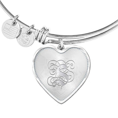Heart Bangle Bracelet with Silver Initial, Personalized, Monogram & Name S