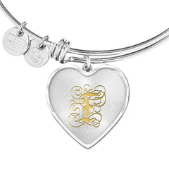 Heart Bangle Necklace with Gold F Initial, Personalized Monogram & Name