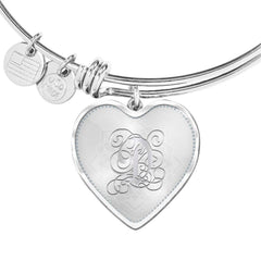 Heart Bangle Bracelet with Silver D Initial, Personalized, Monogram & Name
