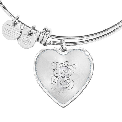 Heart Bangle Bracelet with Silver E Initial, Personalized, Monogram & Name - Lyghtt