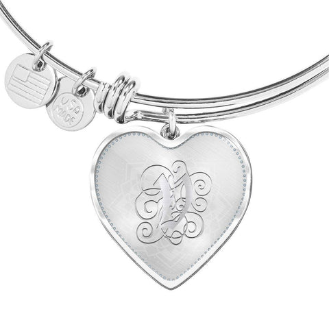 Heart Bangle Bracelet with Silver Initial, Personalized, Monogram & Name V - Lyghtt