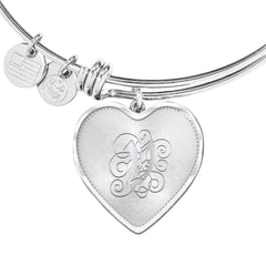 Heart Bangle Bracelet with Silver Initial, Personalized, Monogram & Name V