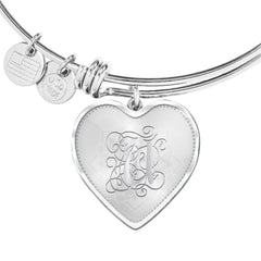 Heart Bangle Bracelet with Silver Initial, Personalized, Monogram & Name U