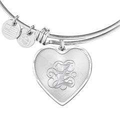 Heart Bangle Bracelet with Silver Initial, Personalized, Monogram & Name Z
