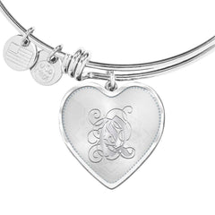 Heart Bangle Bracelet with Silver Initial, Personalized, Monogram & Name Q