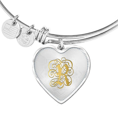 Heart Bangle Necklace with Gold R Initial, Personalized Monogram & Name